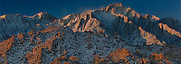 902000013 panoramic view of winters dawn light on lone pine peak and the eastern sierras mountain range with the spectacular granite boulders of the alabama hills in the foreground near lone pine in kern county california