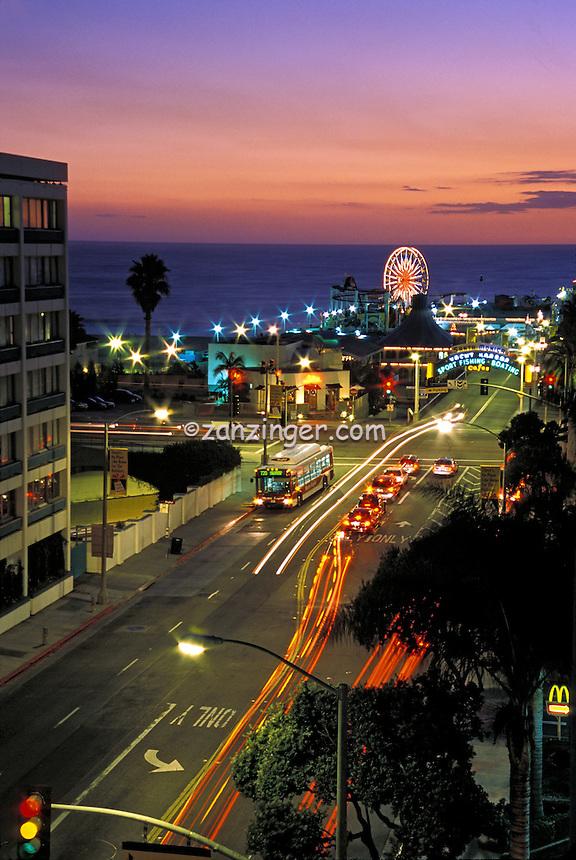 Santa Monica, Beach, CA, Holiday Inn, Pacific Park, Pier, Ocean, Sunset, Fiery Sky, Vertical High dynamic range imaging (HDRI or HDR)