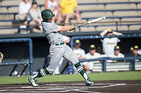 Eastern Michigan Eagles outfielder Jordan Peterson (3) swings the bat during the NCAA baseball game against the Michigan Wolverines on May 16, 2017 at Ray Fisher Stadium in Ann Arbor, Michigan. Michigan defeated Eastern Michigan 12-4. (Andrew Woolley/Four Seam Images)