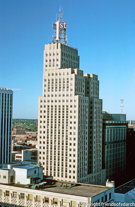 St. Paul:  1st National Bank from 20th floor of hotel.  32 story skyscraper.   Graham, Anderson, Probst & White in 1931.  Best known for its sign on top of building. Photo '97.
