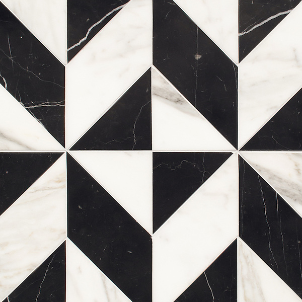 Lancaster Large, a hand-cut stone mosaic, shown in polished Calacatta Tia and Nero Marquina, is part of the Palazzo collection by New Ravenna.