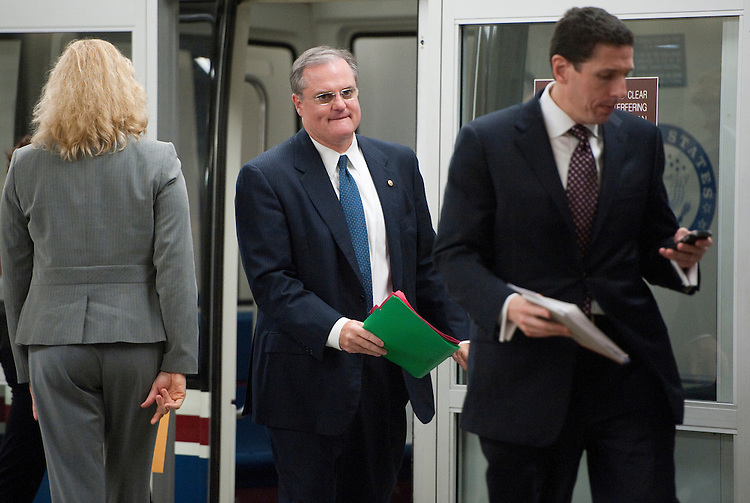 UNITED STATES - OCTOBER 4: Sen. Mark Pryor, D-Ark., arrives in the Capitol via the Senate Subway on Tuesday, Oct. 4, 2011. (Photo By Bill Clark/CQ Roll Call)