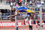Brandon Baskerville of Coppin State University attempts to clear the bar during the College Men's High Jump at the Penn Relays athletic meets Friday, April 27, 2012 in Philadelphia, PA.