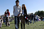 Young and modern Chinese couple at MIDI rock music festival, Beijing, China.