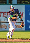 1 September 2014: Vermont Lake Monsters infielder Gabriel Santana flips to second for the out during game action against the Tri-City ValleyCats at Centennial Field in Burlington, Vermont. The ValleyCats defeated the Lake Monsters 3-2 in NY Penn League play. Mandatory Credit: Ed Wolfstein Photo *** RAW Image File Available ****