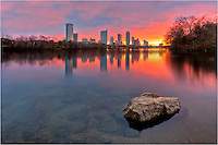 Early on a December morning, I arrived at this place to find Lady Bird Lake calm and peaceful. There was a chill in the air, and the sunrise over downtown Austin and the Austin skyline was amazing.