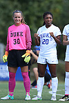 04 September 2016: Duke's Mia Gyau (20) and EJ Proctor (30). The Duke University Blue Devils hosted the University of Minnesota Golden Gophers at Koskinen Stadium in Durham, North Carolina in a 2016 NCAA Division I Women's Soccer match. Duke won the game 1-0.