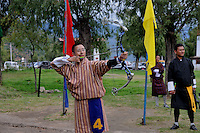 A man practicing archery. Archarie is very popular and the national sports of Bhutan. Arindam Mukherjee.