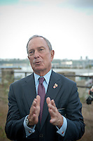 NY Mayor Mike Bloomberg speaks at the groundbreaking ceremony for the third segment of the High Line Park, covering West 30th to West 34th Streets in New York, on Thursday, September 20, 2012.The final phase of the popular park is scheduled to open in 2014 and over ten million visitors have toured the park since its opening in 2009.   (© Richard B. Levine)