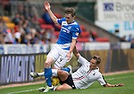 St Johnstone v Falkirk&hellip;23.07.16  McDiarmid Park, Perth. Betfred Cup<br />Blair Alston is tackled by James Craigen<br />Picture by Graeme Hart.<br />Copyright Perthshire Picture Agency<br />Tel: 01738 623350  Mobile: 07990 594431