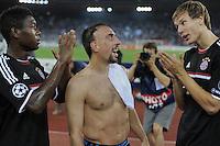 FUSSBALL   CHAMPIONS LEAGUE   SAISON 2011/2012  Qualifikation  23.08.2011 FC Zuerich - FC Bayern Muenchen Schlussjubel FC Bayern Muenchen; David Alaba, Franck Ribery und Holger Badstuber (v.li.)
