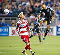 SANTA CLARA, CA - July 18, 2012: FC Dallas forward Brek Shea (20) and San Jose Earthquake defender Justin Morrow (15) during the San Jose Earthquakes vs  FC Dallas match at the Buck Shaw Stadium in Santa Clara, California. Final score San Jose Earthquakes 2, FC Dallas 1.