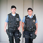Patrol officers Liana Brum, 29, left, and Michelle Soares, 27<br /> Rapid Response Team<br /> Pacifying Police Unit<br /> Complexo do Caju, Rio de Janeiro, Brazil
