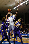 UK forward Samarie Walker attempts a shot but is surrounded by LSU defense during the first half of the women's basketball game vs. LSU Memorial Coliseum , in Lexington, Ky., on Sunday, January 27, 2013. Photo by Genevieve Adams  | Staff.