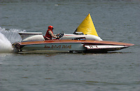 """2003 Madison Regatta, 5-6 July 2003, Madison, IN USA                                .Bill Sterett, Jr., """"Miss Crazy Thing"""" H-1, 1971 Lauterbach 7 Litre Division I hydroplane (built as """"Miss Gangway"""" H-6 for Richie Sutphen).F. Peirce Williams .photography.P.O.Box 455  Eaton, OH 45320 USA.p: 317.358.7326  fpwp@mac.com"""