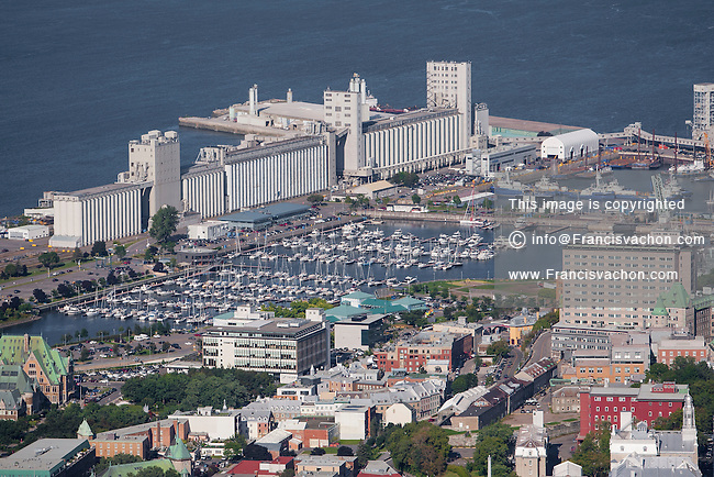 Marina du Port de Quebec and the Bunge grain silos are pictured in this aerial photo in Quebec city Thursday September 3, 2015.