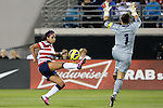 09 February 2012: Sydney Leroux (USA) (14) scores past Gemma Fay (SCO) (1). The United States Women's National Team defeated the Scotland Women's National Team 4-1 at EverBank Field in Jacksonville, Florida in a women's international friendly soccer match.