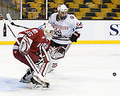 Ryan Carroll (Harvard - 35), Justin Daniels (NU - 11) - The Northeastern University Huskies defeated the Harvard University Crimson 4-1 (EN) on Monday, February 8, 2010, at the TD Garden in Boston, Massachusetts, in the 2010 Beanpot consolation game.