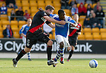 St Johnstone v St Mirren....06.10.12      SPL.Nigel Hasselabink is rugby tackled by Paul Dummett.Picture by Graeme Hart..Copyright Perthshire Picture Agency.Tel: 01738 623350  Mobile: 07990 594431
