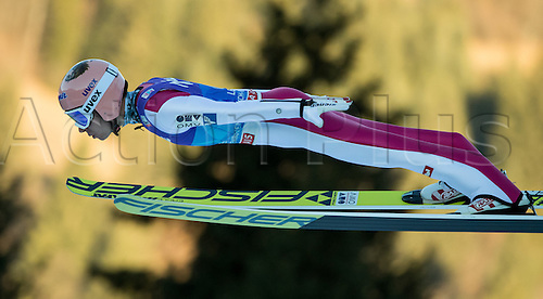01.01.2017, Olympic Hill, Garmisch Partenkirchen, Germany. 4 Hills ski jumping tournament. Austrian ski jumper Stefan Kraft during the final run at the Four Hills Tournament in Nordic skiing/ski jumping in Garmisch-Partenkirchen, Germany, 1st January 2017.