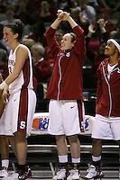 4 March 2007: Jillian Harmon, Clare Bodensteiner, and Markisha Coleman during Stanford's 67-52 win over USC at the Pac-10 women's basketball tournament at HP Pavilion in San Jose, CA.