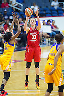 Washington, DC - July 22, 2016: Washington Mystics center Emma Meesseman (33) shoots a jump shot over Los Angeles Sparks forward Nneka Ogwumike (30) during their game at the Verizon Center in Washington, DC. (Photo by Phil Peters/Media Images International)