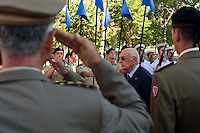 Roma 8 Settembre 2012.Il presidente della Repubblica Giorgio Napolitano durante la commemorazione per i caduti dell'8 settembre 1943 a Porta San Paolo a Roma.