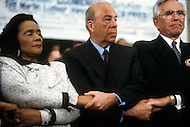 Atlanta, Georgia, U.S.A, 15 January, 1987. The 58th birthday memorial of Martin Luther King.From left to right: Coretta King, George Shultz and Reverend Rober Schuller.