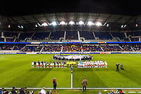 Players line up for pre-game introductions. D. C. United defeated the New York Red Bulls 1-0 (2-1 in aggregate) during the second leg of the MLS Eastern Conference Semifinals at Red Bull Arena in Harrison, NJ, on November 8, 2012.