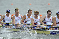Brandenburg, GERMANY,  GBR BM8+.   Chris ABRAMS, Mason DURANT, Fred GILL, Karl HUDSPITH, Matthew ROSSITER, Nathaniel REILLY-O'DONNELL, move away from the start at the 2008 FISA U23 World Rowing Championships, [Mandatory credit: Peter Spurrier Intersport Images]. Rowing Course: Brandenburg, Havel Rowing Course, Brandenburg, GERMANY
