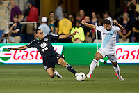 Ramiro Corrales (12) of the MLS All-Stars fights for the ball with Eden Hazard (17) of Chelsea during the game at PPL Park in Chester, PA.  The MLS All-Stars defeated Chelsea, 3-2.