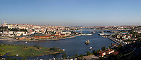 Panoramic view of Golden Horn, Istanbul, Turkey, in the evening from the terrace of the Cafe Pierre Loti. Picture by Manuel Cohen.