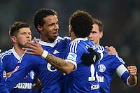 FUSSBALL   1. BUNDESLIGA   SAISON 2012/2013    23. SPIELTAG FC Schalke 04 - Fortuna Duesseldorf                        23.02.2013 Jubel nach dem 1:0: Joel Matip (li) und  Jermaine Jones (v.l., beide  FC Schalke 04)