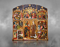 Gothic altarpiece of Saint Esteve (Stephen) & John the Baptist by Mestre de Bardalona, early 15th century, tempera and gold leaf on for wood from Santa Maria de Badalona.  National Museum of Catalan Art, Barcelona, Spain, inv no: MNAC   15824. Against a grey textured background.