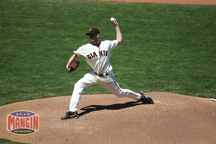 SAN FRANCISCO - June 23:  Jonathan Sanchez of the San Francisco Giants pitches during the game against the New York Yankees at AT&T Park in San Francisco, California on June 23, 2007. Photo by Brad Mangin