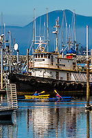 Sea kayakers passing by fishing boats in the harbor, Sitka, Alaska USA.