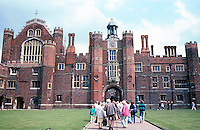 London: Hampton Court Palace--Base Court--The Great Hall is to the left.
