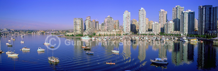 "City of Vancouver Skyline and Downtown at Yaletown and ""False Creek"", BC, British Columbia, Canada, in Summer - Panoramic View"
