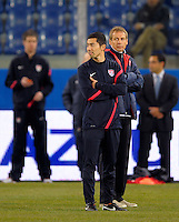 Coach Juergen Klinsmann (re, USA), before the friendly match Italy against USA at the Stadium Luigi Ferraris at Genoa Italy on february the 29th, 2012.