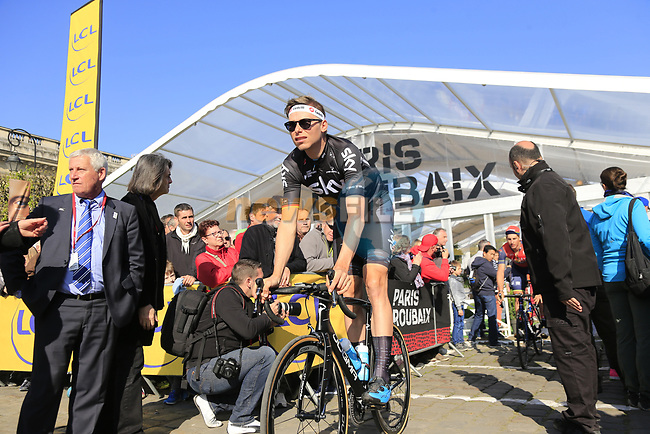 Christian Knees (GER) Team Sky at sign on for the 115th edition of the Paris-Roubaix 2017 race running 257km Compiegne to Roubaix, France. 9th April 2017.<br /> Picture: Eoin Clarke | Cyclefile<br /> <br /> <br /> All photos usage must carry mandatory copyright credit (&copy; Cyclefile | Eoin Clarke)