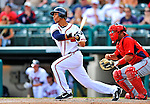 6 March 2012: Atlanta Braves infielder Andrelton Simmons singles in the 9th inning during a Spring Training game against the Washington Nationals at Champion Park in Disney's Wide World of Sports Complex, Orlando, Florida. The Nationals defeated the Braves 5-2 in Grapefruit League action. Mandatory Credit: Ed Wolfstein Photo