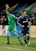 Sam Cronin (4) celebrates the ball missing target along with goalkeeper Jon Busch (18). The New York Red Bulls defeated the San Jose Earthquakes 1-0 at Buck Shaw Stadium in Santa Clara, California on October 30th, 2010.