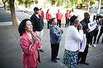 Vallejo residents listen to the National Anthem song during an event in which current mayor of Vallejo, Osby Davis, announces his running for a second term, to a mostly church-based supporters, outside City Hall, in Vallejo, Ca., on Monday, April 11, 2011. Davis, who was criticized for his anti-gay remarks, oversaw the city's inevitable bankruptcy, and is the city's first black mayor. There are about 230 neighborhood watch groups in Vallejo since police cutbacks.