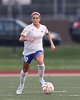 Boston Breakers defender Bianca D'Agostino (19) brings the ball forward. In a Women's Premier Soccer League Elite (WPSL) match, the Boston Breakers defeated New England Mutiny, 4-2, at Dilboy Stadium on June 20, 2012.