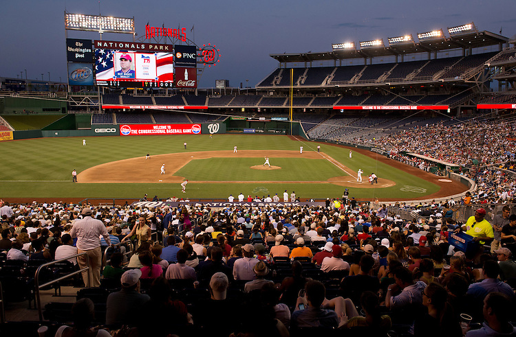 UNITED STATES - JUNE 28:  The 51st Annual CQ Roll Call Congressional Baseball Game is played at Nationals Park.  The Democrats prevailed over the Republicans 18-5. (Photo By Tom Williams/CQ Roll Call)