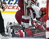Merrick Madsen (Harvard - 31), Alexander Dahl (SLU - 14) - The Harvard University Crimson defeated the St. Lawrence University Saints 6-3 (EN) to clinch the ECAC playoffs first seed and a share in the regular season championship on senior night, Saturday, February 25, 2017, at Bright-Landry Hockey Center in Boston, Massachusetts.
