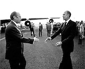 United States President Gerald R. Ford greets French President Val&eacute;ry Giscard d'Estaing in Martinique at the beginning of President Ford's third foreign trip on December 14, 1974.  His first visit was a brief one to Mexico. It was followed in November by his visit to Japan, South Korea, and the Union of Soviet Socialist Republics (U.S.S.R.)<br /> Mandatory Credit: David Hume Kennerly / White House via CNP