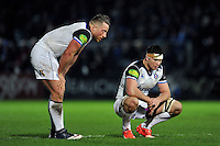 Max Lahiff and Francois Louw of Bath Rugby look on. European Rugby Champions Cup match, between Leinster Rugby and Bath Rugby on January 16, 2016 at the RDS Arena in Dublin, Republic of Ireland. Photo by: Patrick Khachfe / Onside Images