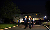 United States President Barack Obama (left) walks with President of the People's Republic of China Xi Jinping (right) along the driveway at The White House in Washington, D.C., Thursday, Sept. 24, 2015, en route to a private dinner across the street at Blair House.<br /> Credit: Rod Lamkey Jr. / Pool via CNP