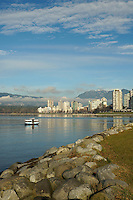 SeaBus ferry on English Bay with West End and North Shore Mountains in background, Vancouver, BC, Canada